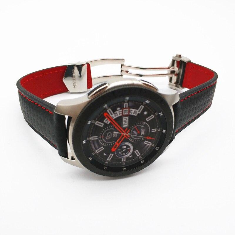 Date Carbone fibre Véritable bracelet de montre En Cuir Bande Pour Samsung Galaxy Montre 46mm 42mm Vitesse S3 Classique Frontière montre huawei 2