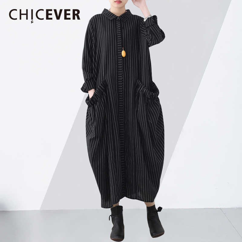 CHICEVER 2019 Spring Women s Dresses Lapel Long Sleeve Loose Big Size Striped Casual Dress Female