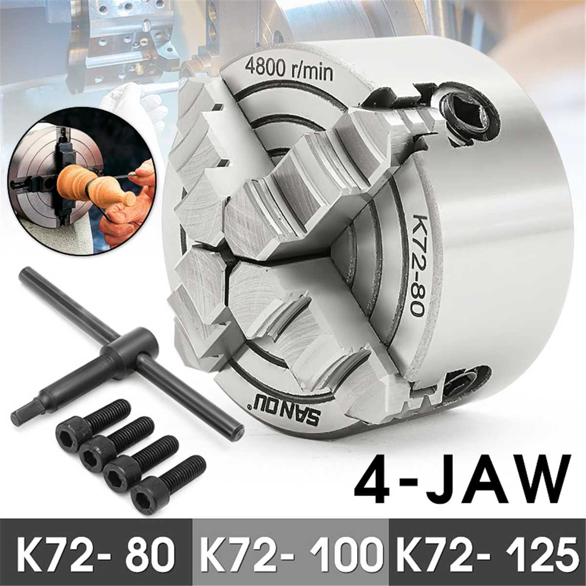 K72- 80/K72- 100/K72- 125 4 Jaw Lathe Chuck 80mm/100mm/125mm Independent Self-Centering 1pcs Safety Chuck Key 3pcs Mounting BoltK72- 80/K72- 100/K72- 125 4 Jaw Lathe Chuck 80mm/100mm/125mm Independent Self-Centering 1pcs Safety Chuck Key 3pcs Mounting Bolt