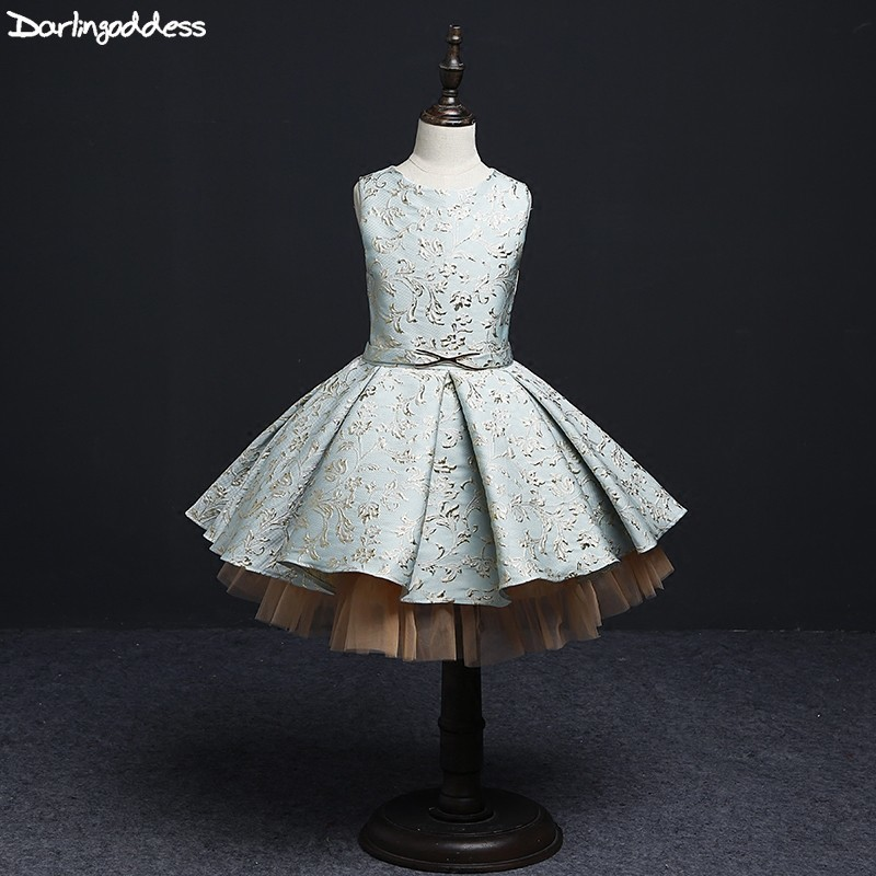2019 Green   Flower     Girl     Dresses   for Weddings Gold Lace Kids First Communion   Dresses   Birthday Show Costume Ball   Girls   Prom   Dress