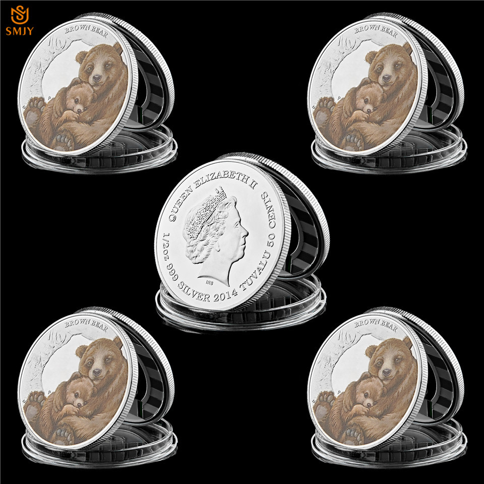 5PCS Queen Elizabeth II Tuvalu Animal Brown Bear Silver Challenge Coin