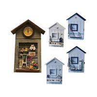 Key Box Wall Creative Room Decoration Mediterranean Style House Shape Wooden Key Box Wall Hanging Keys Holder Hooks