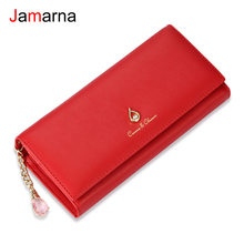 Jamarna Women Wallet PU Magnetic Closure Women Wallets Long Wallets Clutch Purse Red Card Holder Coin Purse Clasps New