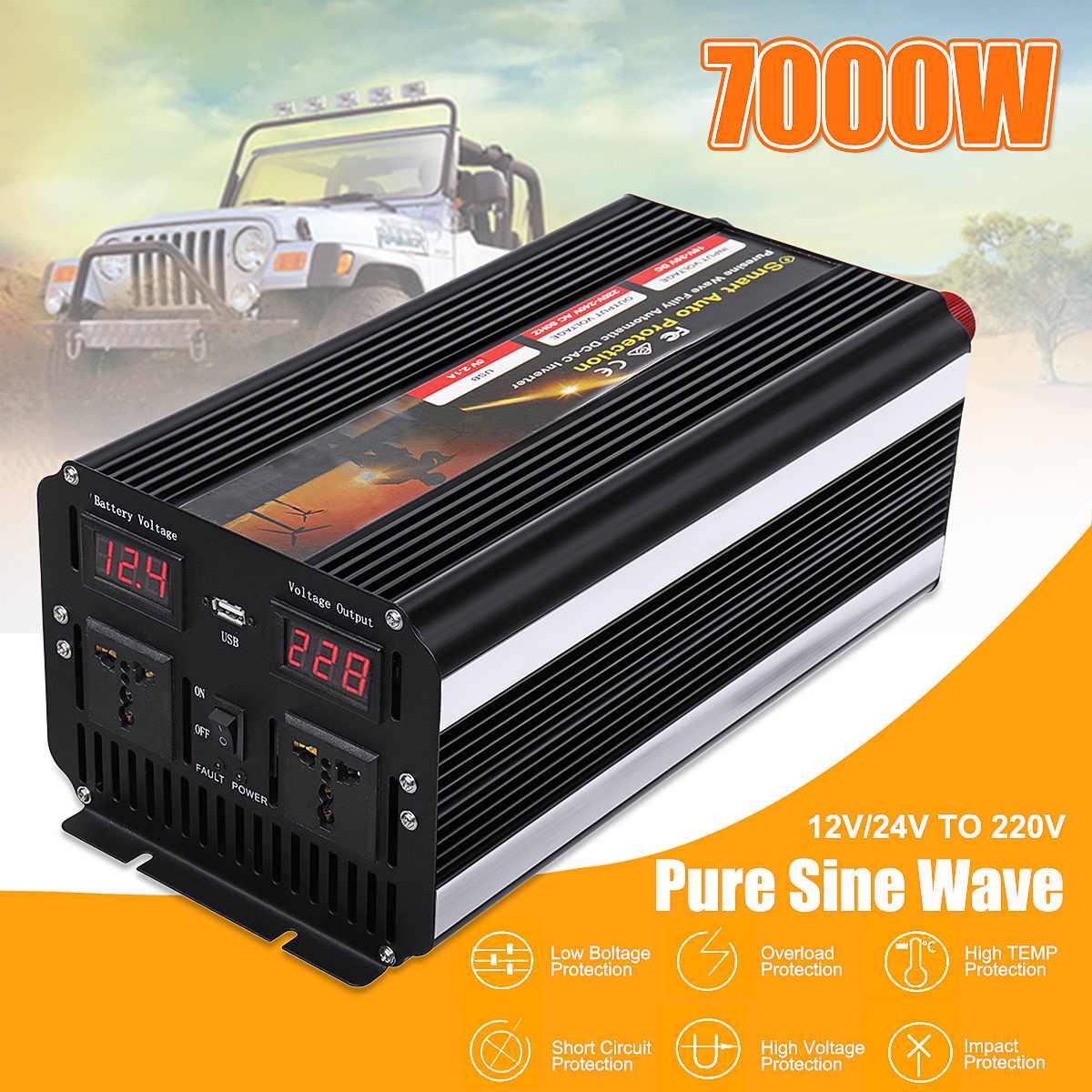 Pisello 7000 W 12 V/24 V 220 V Convertitore di Potenza Inverter Auto Doppio Display Digitale A CRISTALLI LIQUIDI Sinusoidale Pura onda Trasformatore di Tensione 2 A CRISTALLI LIQUIDI Digital