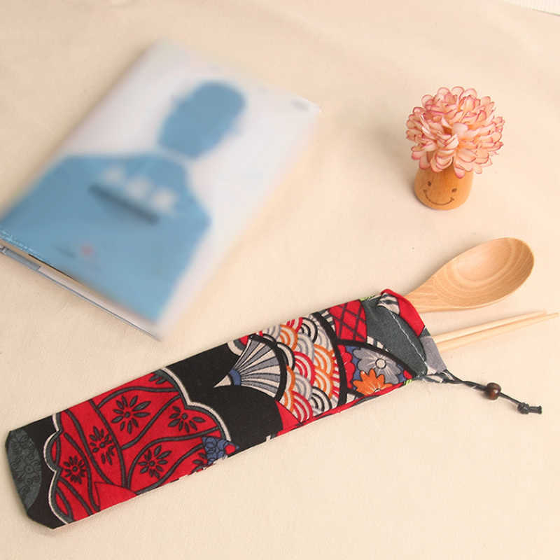 Container  1pc New Japan Harajuku Storage Organizer Travel Cutlery Bag Knife Fork  Drawstring Bag Portable 15 Style Canvas