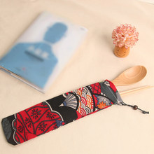 Container 1pc New Japan Harajuku Storage Organizer Travel Cutlery Bag Knife Fork Drawstring Bag Portable 15 Style Canvas(China)