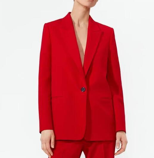a8f6b9937f102 Satın Al 2019 Kırmızı Takım Elbise Ceket Kadınlar Tek Düğme Blazers ...