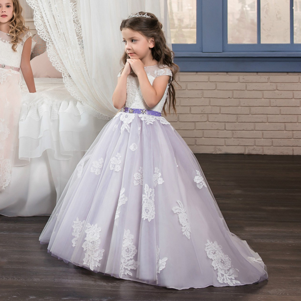 Sweet Purple Floral Lace Beading   Flower     Girl     Dresses   For Wedding Crystal   Girls   First Communion Gowns Special Occasion   Dresses