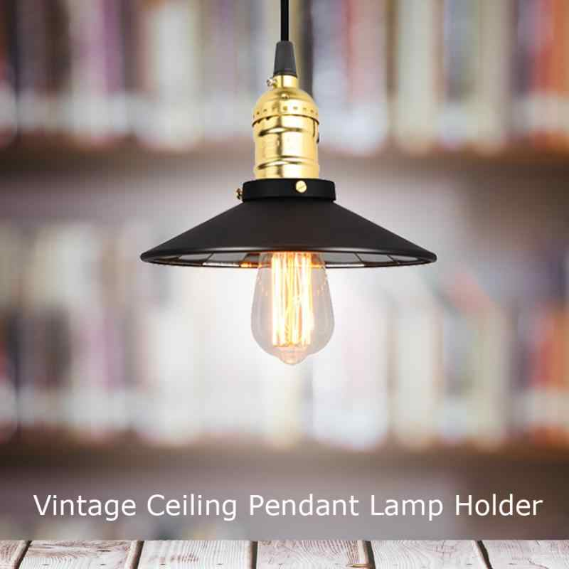 E27 Vintage Pendant Light Holder Ceiling Mounted with Wire Chandelier Lamp Fixtures Base New