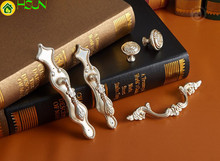 2 pcs Shabby Chic Dresser Pulls Handles Knobs Antique Silver Drawer Drop Country Kitchen Cabinet Handle