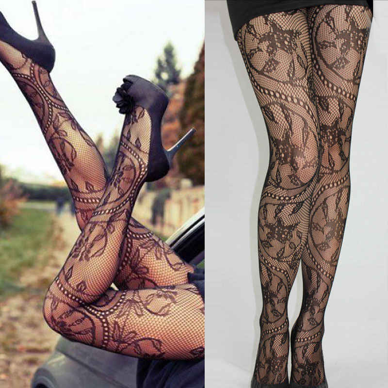 Fashion Sexy Women Mesh Net Garter Belt Fishnet Bodystockings Pattern Pantyhose Tights High Thin Stockings Black