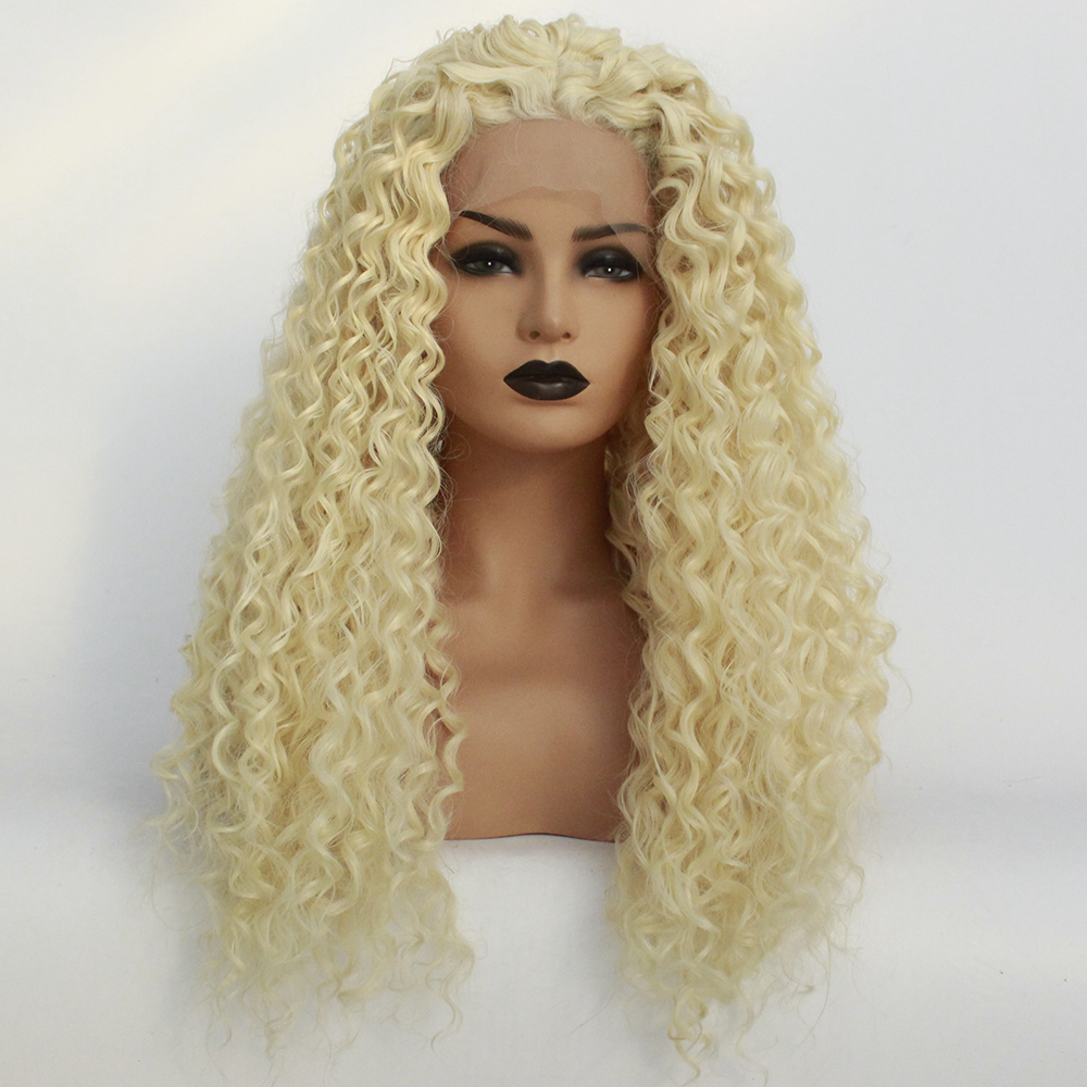 613 Synthetic Lace Front Kinky Curly Wig Heat Resistant Fiber Middle Part Long Platinum Blonde Frontal