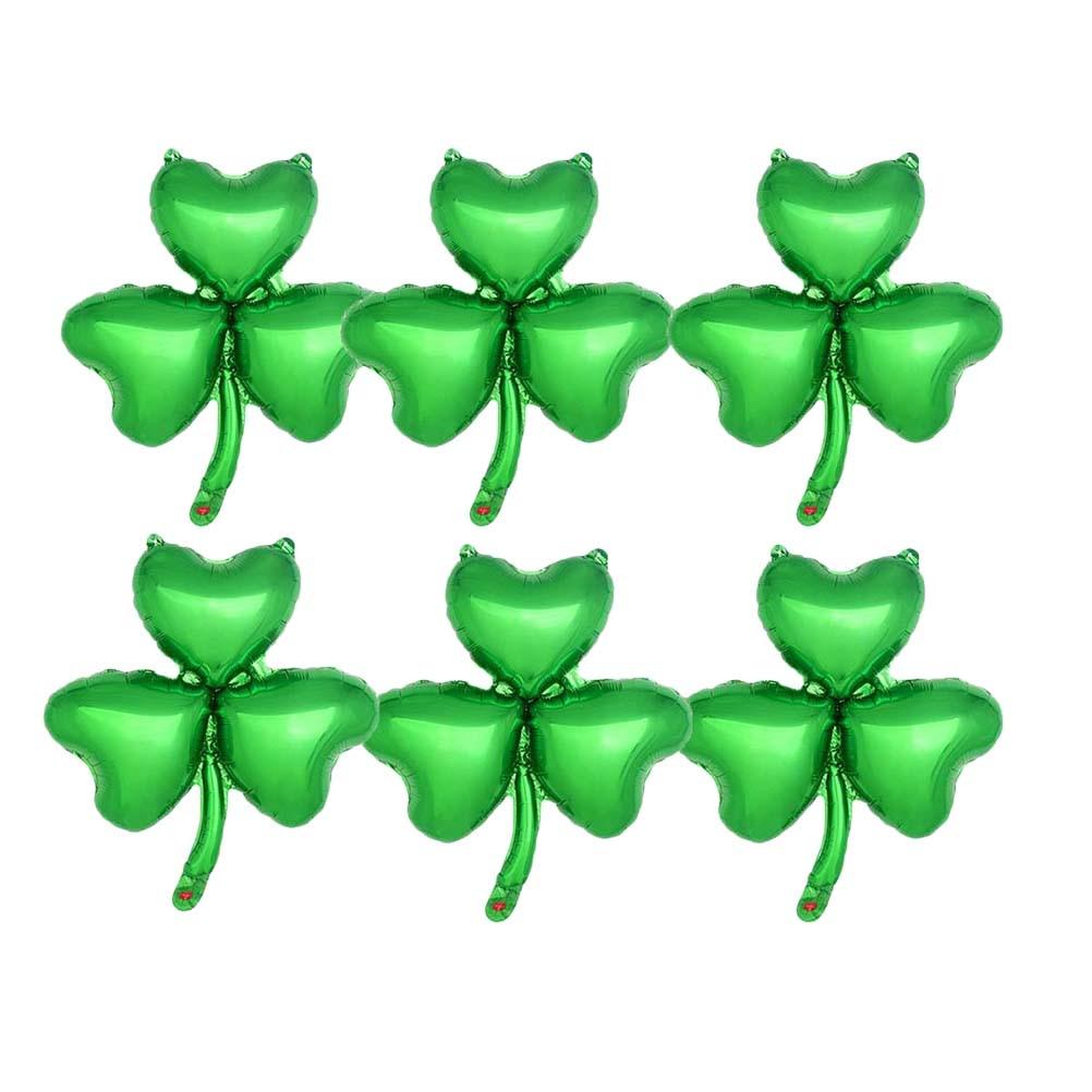 10pcs Aluminium Foil Balloons Clover Decorative Green Foil Balloon Party Supply Accessory Mylar Balloon for St