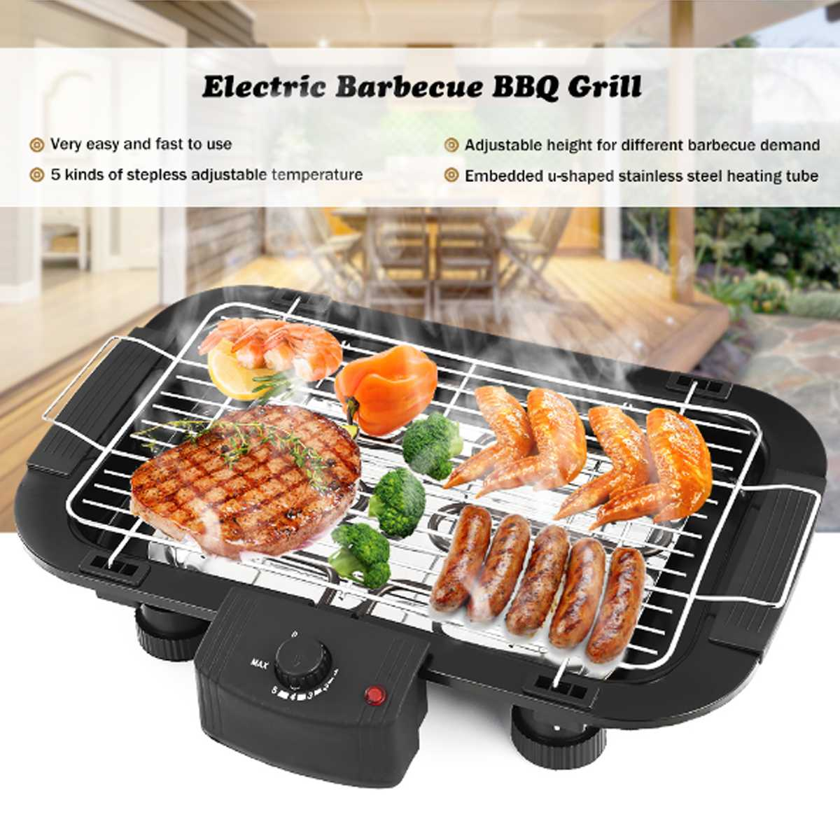 BBQ Teppanyaki Griddle Table Barbeque Grill Non Stick Electric Top Smokeless EU Plug Rustless and Durable Adjustable Temperature
