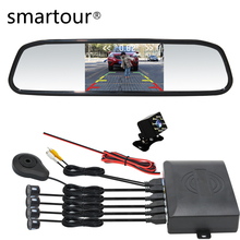 Smartour car 3in1 4 Parking Sensors Reverse Rear View camera Assist Backup Radar Alarm Monitor System Radar Detector цена