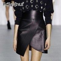 TWOTWINSTYLE PU Leather Skirts Female Slim High Waist Asymmetrical Hem Mini Skirt For Women Fashion Autumn Winter 2019 New