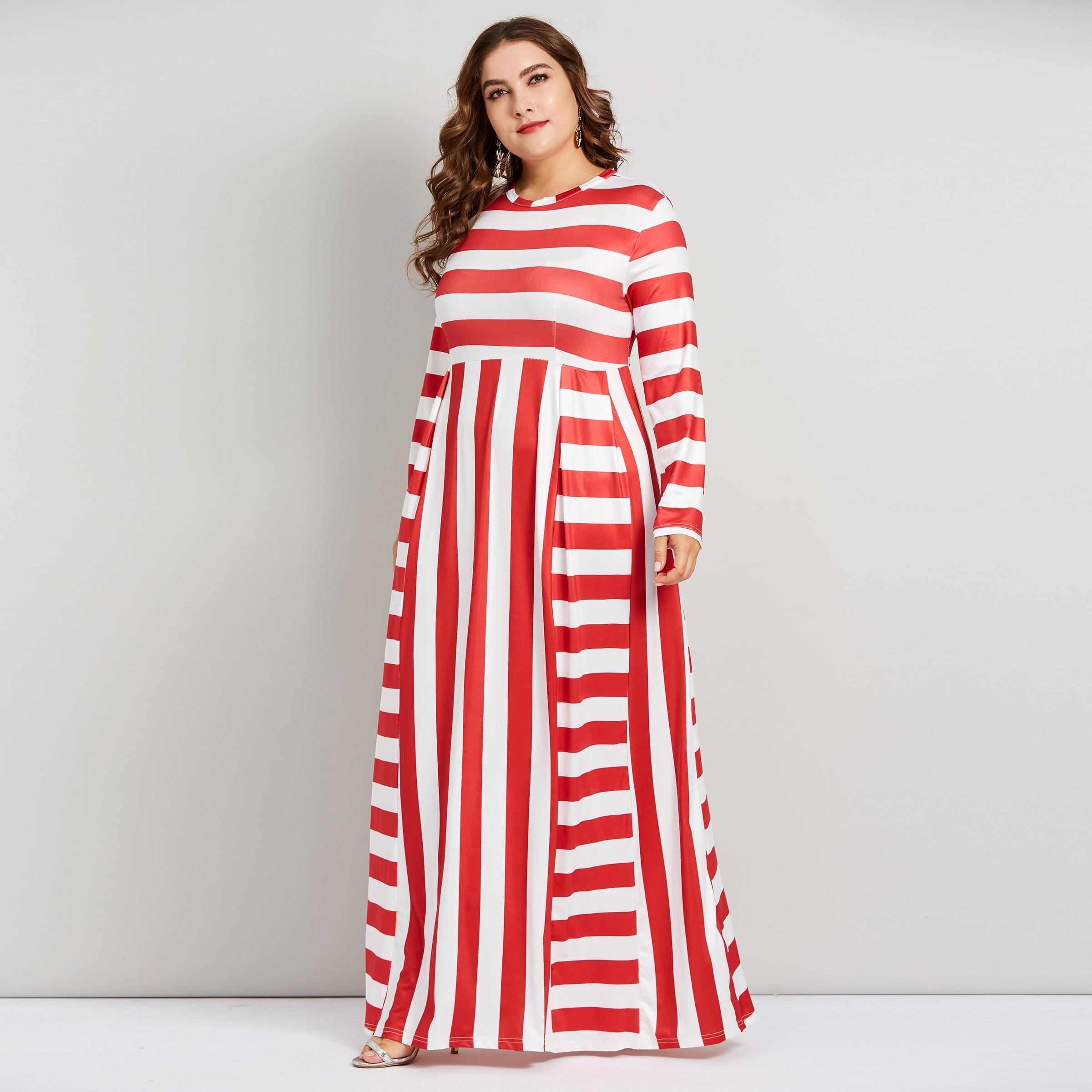 a51490191f Plusee Autumn Winter Women Maxi Dress Elegant Red White Stripe Plus Size  5XL Stylish Party Floor Length Swing Long Dress Female