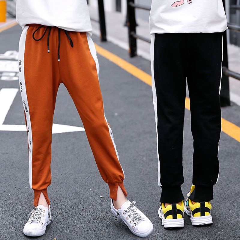 Girls 39 sports pants spring and autumn long section 2019 new casual harem loose big kids cotton pants children 39 s clothing in Pants from Mother amp Kids