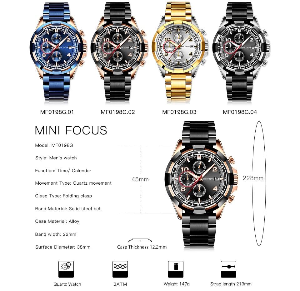 MINIFOCUS 2019 Fashion Military Watch Men 3 Sub dials Multifunction Blue Quartz Mens Watches Top Brand Luxury Clock Steel Strap in Quartz Watches from Watches