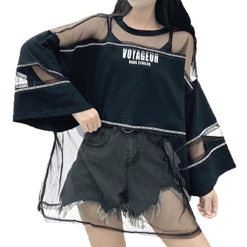 2019 Summer Street Fashion Oversize See Through T Shirt Top Woman Korean Style Harajuku Mesh Perspective T-shirt Tourist Clothes