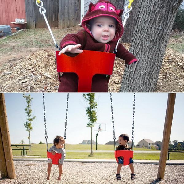 Plein air enfants plein seau balançoire jouer enfants haut dos EVA bébé balançoire siège avec 1.5 m enduit chaîne de jeux pour la maison jardin