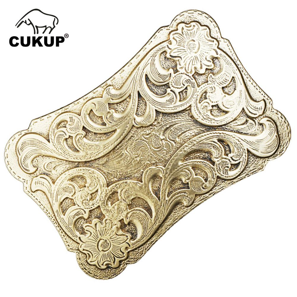 CUKUP Brand Name Belts Chinese Floral Styles Pattern Solid Gold Brass Belt Buckles New Design 2018 3.8cm Smooth Buckle BRK043