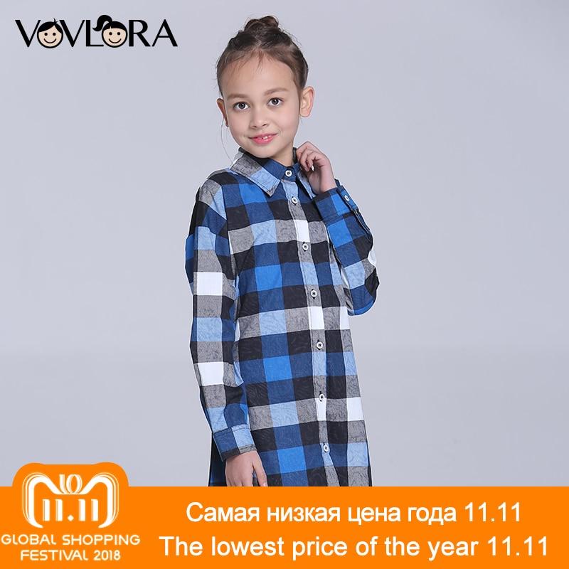 цены на Gilrs Blouse Shirt Plaid Long Children Blouses Cotton Long Sleeve Cartoon Kids Clothes Spring 2018 Size 9 10 11 12 13 14 Years в интернет-магазинах