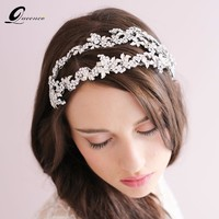 Rhinestone Silver Leaf Tiara Bride Double Strand Crown Bride Hair Accessories Crystal Headbands Hairband For Women
