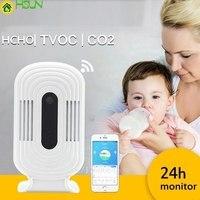 Wi Fi HCHO TVOC CO2 термометр гигрометр монитор на диоксидном углероде Смарт детектор газа формальдегид воздух качество анализатор