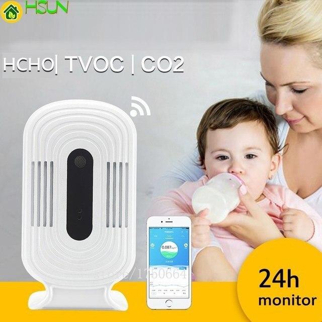 Wifi HCHO TVOC CO2 термометр гигрометр монитор на диоксидном углероде умный детектор газа формальдегид воздух Анализатор качества