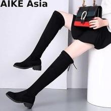 Зимние Сапоги выше колена, размеры 34-41 пикантные женские сапоги до бедра из эластичной ткани на шнуровке, женская обувь на плоской подошве высокие сапоги, Bota Feminina, 660