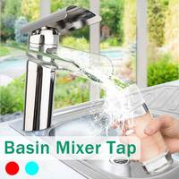 Modern Glass Waterfall Bathroom Faucet Chrome Brass Basin Sink Mixer Tap Cold And Hot Single Handle Water Faucet Deck Mounted