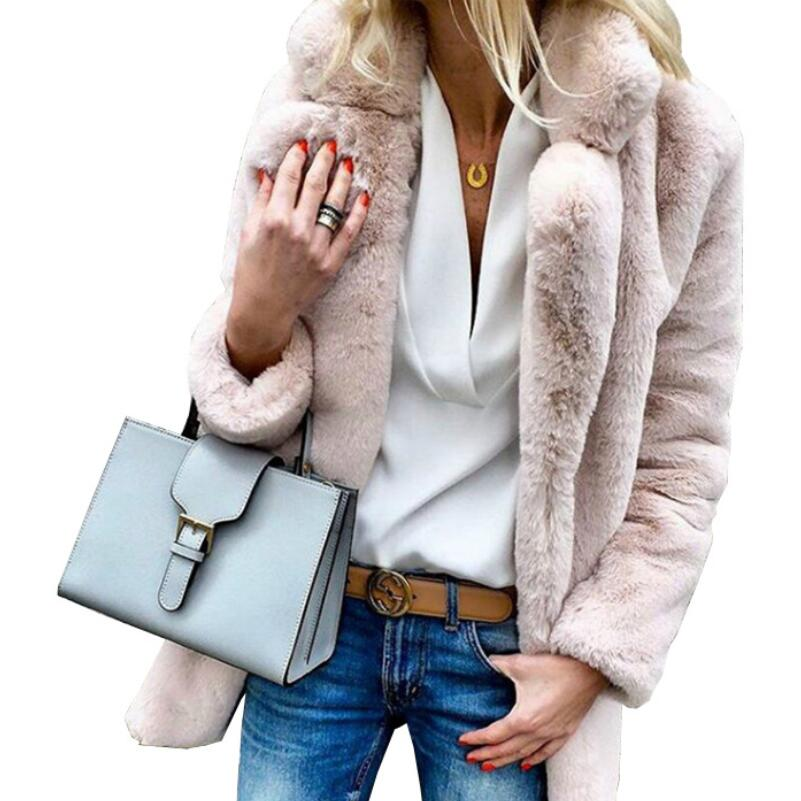 2018 Autumn And Winterfemale Overcoat New Solid Color Long-sleeved Lapel Women's Fluffy Coat Coat   Trench   Coat For Women