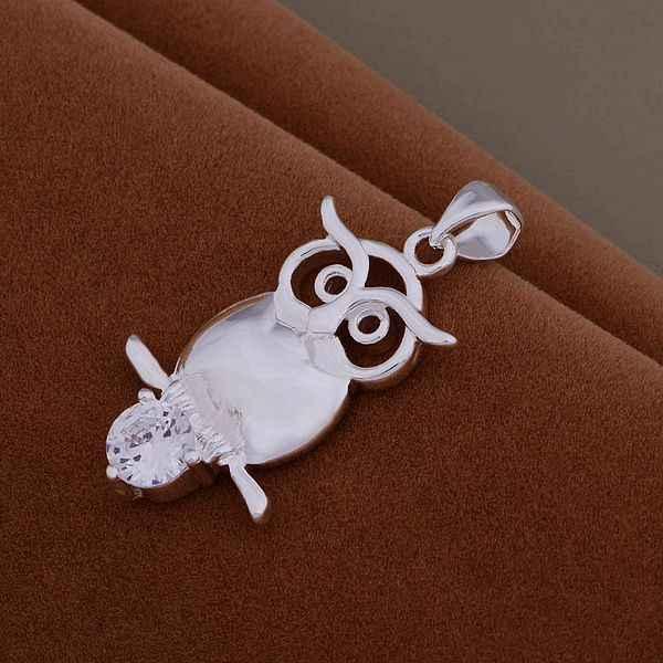 An939 Panas 925 Sterling Silver Kalung 925 Silver Fashion Perhiasan Liontin Burung Hantu Set dengan Batu/Hluaqdba Bqgakhna