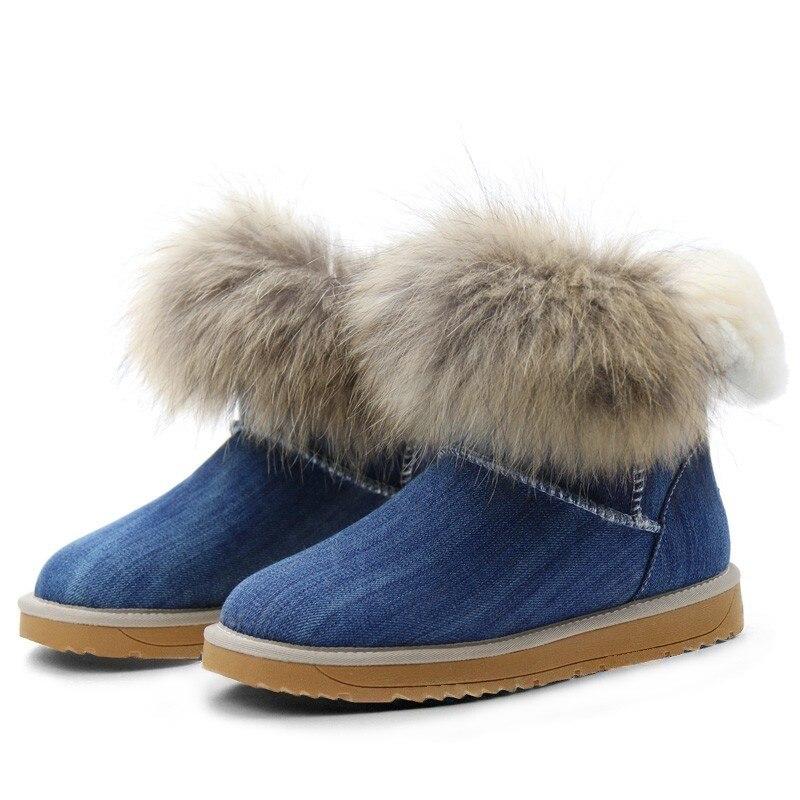 D'hiver Avec Chaud Célèbre Bottes Chaussures Fourrure Denim Laine La Et Bottines Femmes Marque Gogc 12 9752 Neige De G9752 Ywd600q