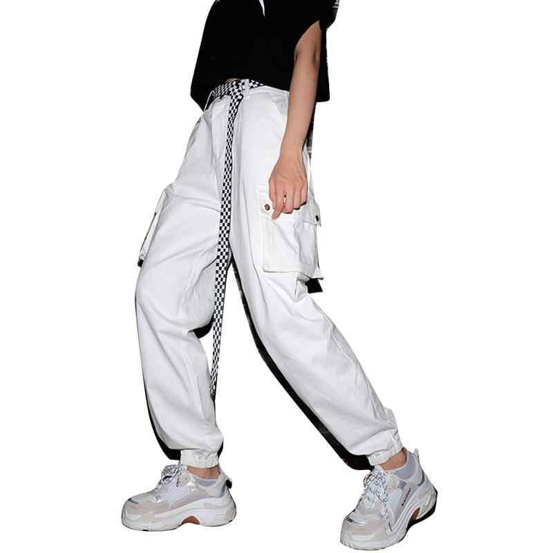 2019 Punk Kanvas Sabuk Pria Wanita Jeans Logam Dekoratif Gesper Hitam Putih Plaid Sabuk Fashion Street Liar Panjang Ikat Pinggang