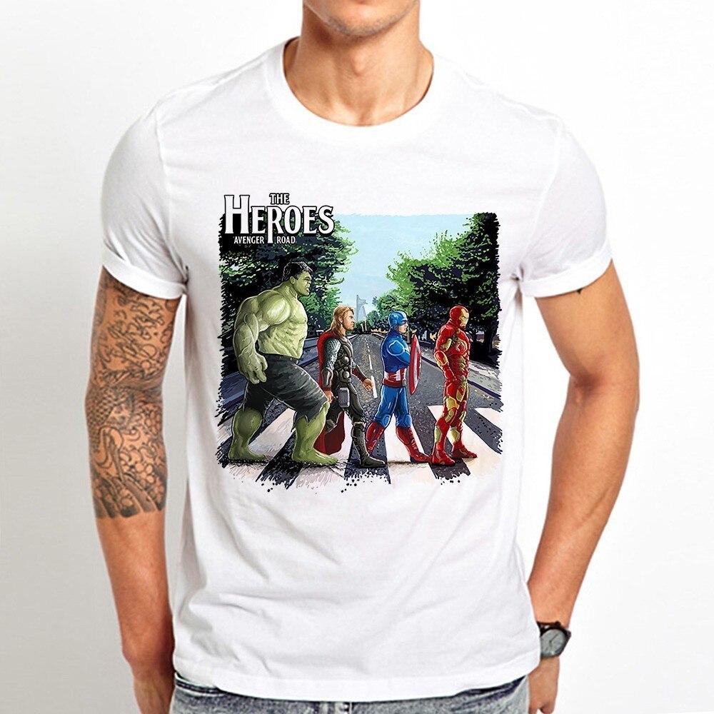 Superheros avenger hulk homem de ferro thor na estrada engraçado camiseta dos homens verão novo branco casual manga curta rocha unisex t camisa