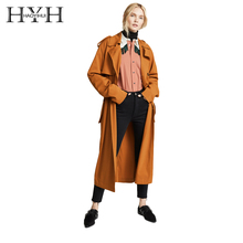 HYH HAOYIHUI New Classic European Trench Coat Temperament double-breasted Side Zip Women Pea Coat real photos цена