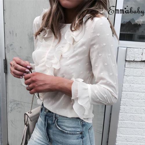 Fashion Women Loose Long Sleeve Ruffle Frill   Shirts   Tops Solid Casual Chiffon   Blouse     Shirt