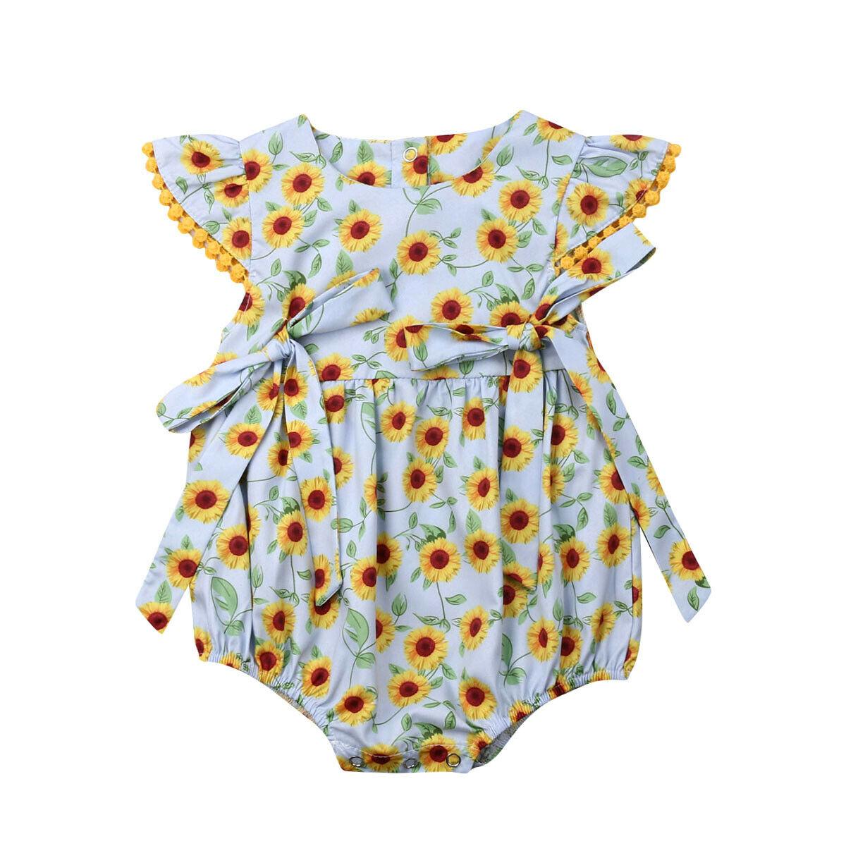 Newborn Infant Baby Girls Floral Bow Romper Jumpsuit Bodysuit Outfits Clothes