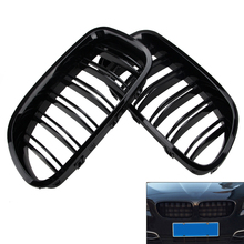 1 Pair ABS Painted Glossy Black Front Kidney Grille Grill 2011-2016 For 5-Series F10 F18 M5 528i цена и фото