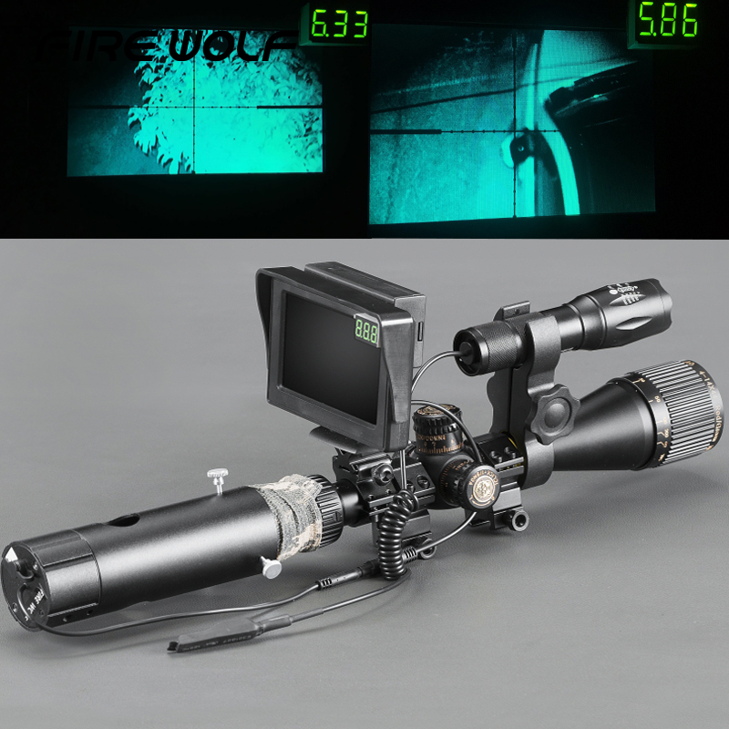 High Quality Day Night Dual Use Rifle Scope Add On DIY Night Vision Scope w/ Green Screen & IR Torch