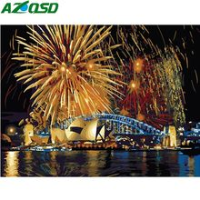 AZQSD Painting By Numbers River Paint Canvas Picture Oil Painting Fireworks DIY Night Scenery Hand Painted Modern K084(China)