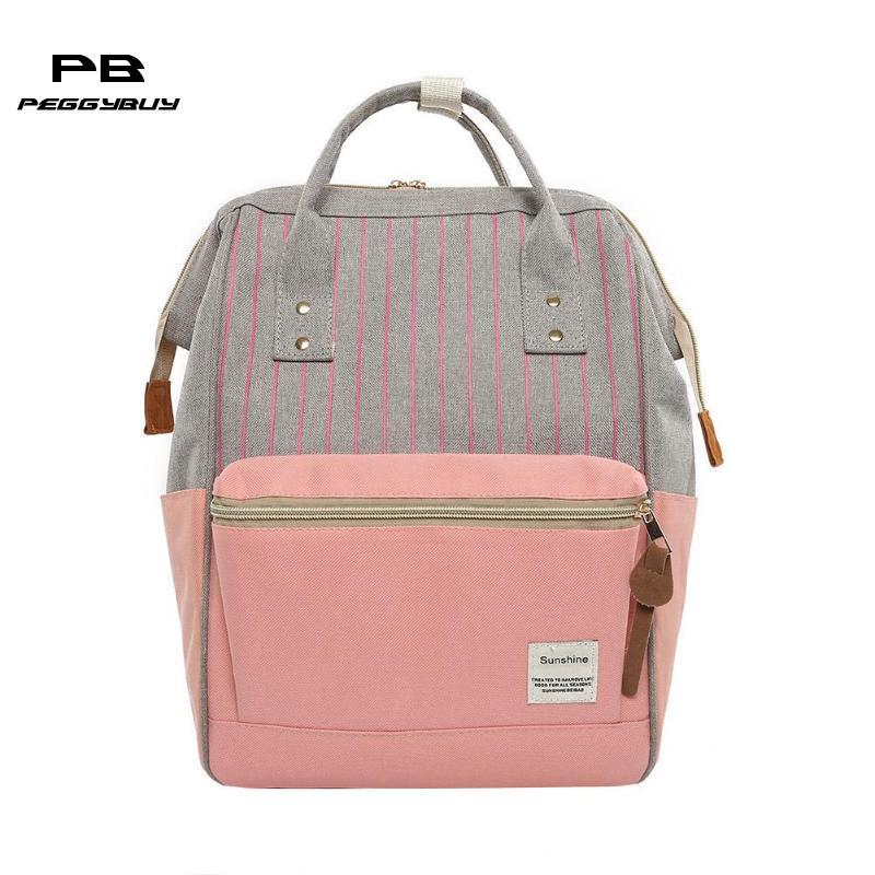 100% Wahr Frauen Leinwand Mutterschaft Rucksack Streifen Hit Farbe Mädchen Schulter Schule Taschen Mochila Feminina Kanken Rucksäcke Mode Reisetasche
