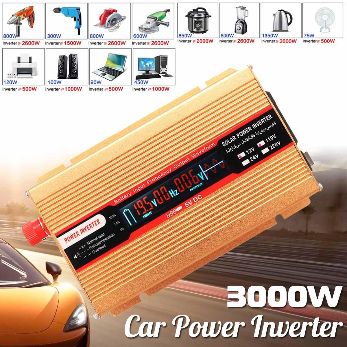 12/24V To AC 220/110V P eak 3000W Car Power Inverter USB Modified Sine Wave Converter Voltage Transformer High Conversion Sturdy