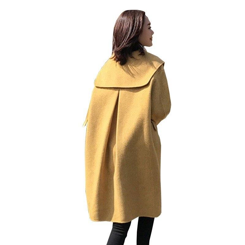 Winter Women New Fashion Pleated Thin Wool Coat Loose Plus