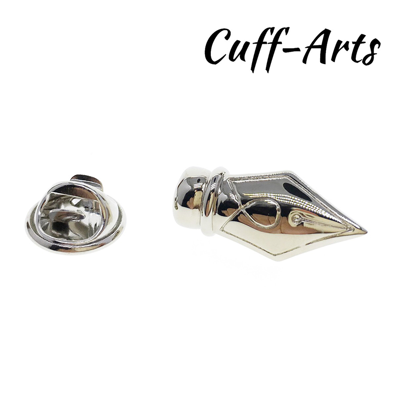 Cuff Arts Men Charming Pen Nib Lapel Pin Shirt Suit Collar Pins Jewelry Gift For Men Summer Fashion Wear Nice Gift P10103 in Brooches from Jewelry Accessories