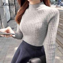 Xnxee winter 2018 turtlenecks womens pullover korean sweater female top women round neck sweaters Pullover  turtleneck