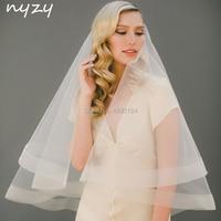 NYZY V4, настоящая фотография, свадебная вуаль цвета шампанского, фата невесты с гребнем, обшитая кромкой, 2 слоя, мягкий тюль, velo novia voile mariage