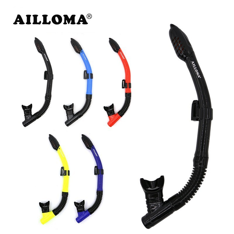 AILLOMA Dry Snorkel With Adjustable Holder Diving Snorkeling Tube Silicone Breathing Swimming Underwater Snorkel For